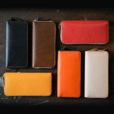 画像2: 4種類の革素材40カラー/ラウンドファスナーロングウォレット(送料無料) (2)